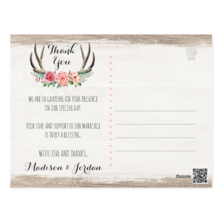 Floral Antlers Rustic Wood Wedding Thank You Postcard