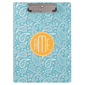 Floral Aqua Blue Paisley Pattern & Yellow Monogram Clipboard