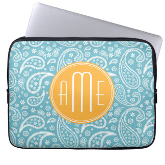 Floral Aqua Blue Paisley Pattern & Yellow Monogram Laptop Computer Sleeves