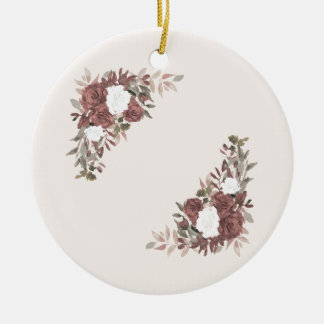 Floral Arrangement in Pink and Mauve Ceramic Ornament