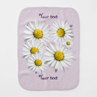 Floral arrangement of white and yellow daisies burp cloth