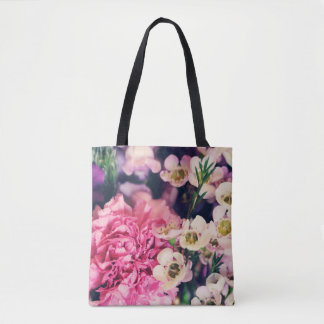 Floral arrangement with peony tote bag