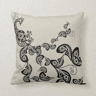 Floral Art Deco Peacock Pattern Black Art Cushion