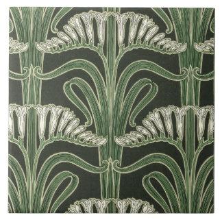 Floral Art Nouveau design Large Square Tile