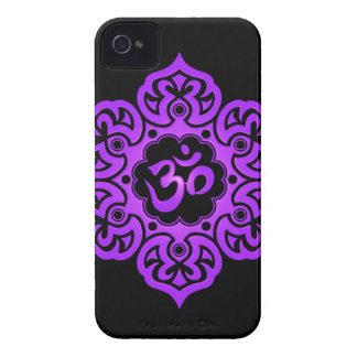 Floral Aum Design – purple and black iPhone 4 Cases