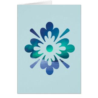 Floral Aurora Northern Lights Blank Greeting Card
