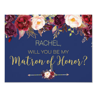Floral Autumn Will You Be My Matron of Honour Card