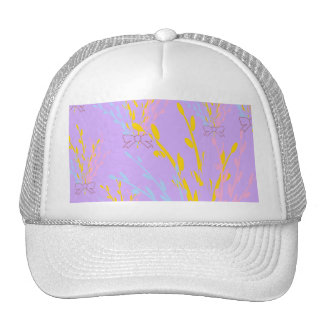 Floral Awareness Ribbons on Lilac Purple Cap