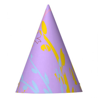 Floral Awareness Ribbons on Lilac Purple Party Hat