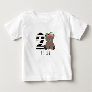 Floral Baby Bear Stripes Second Birthday Shirt