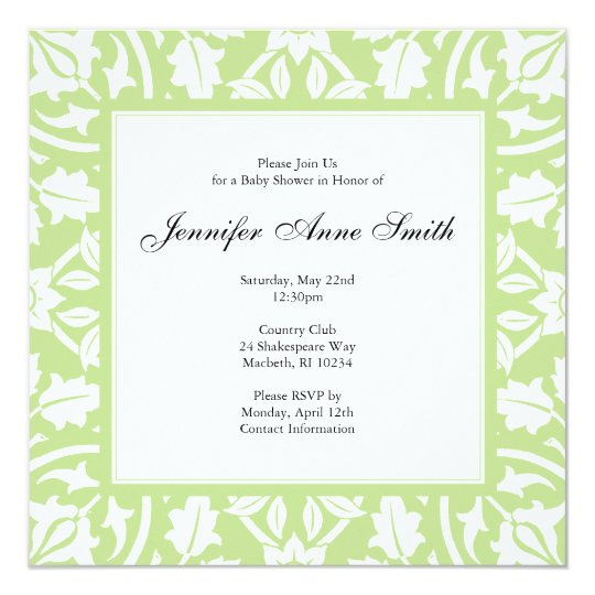 Floral Baby Shower Invitation - Baby Green