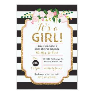 Floral Baby Shower Invitation - Black & Gold