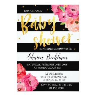 Floral baby shower invitation, floral baby shower card