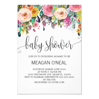 Floral baby shower invitation, Girl baby shower Card