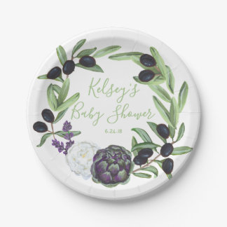 Floral Baby Shower Romantic & Rustic Gardenia Navy Paper Plate