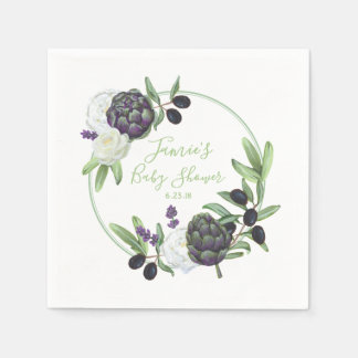 Floral Baby Shower Rustic and Romantic Gardenia Paper Serviettes