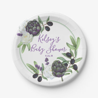 Floral Baby Shower Rustic Romantic Gardenia Paper Plate