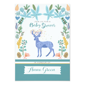 Floral Baby Shower with natural elements Card