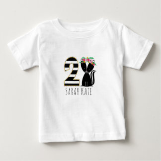 Floral Baby Skunk Stripes Second Birthday Shirt