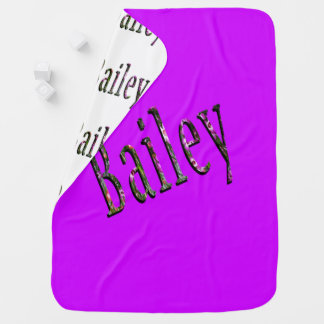 Floral Bailey Name Logo, Baby Blanket