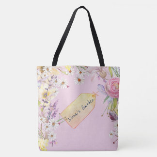 Floral Ballet Slipper Pink with Sketched Tag Tote Bag