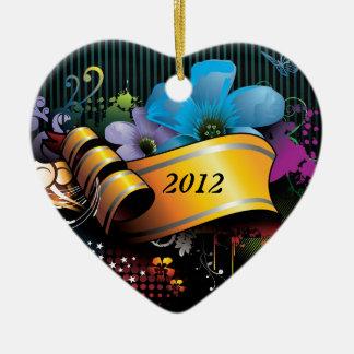 Floral Banner Ceramic Heart Decoration