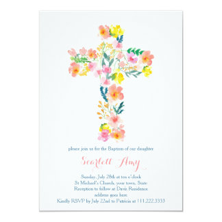 floral Baptism invites, pink yellow Cross invites