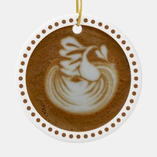 Floral Baristas Art In Latte Ceramic Ornament