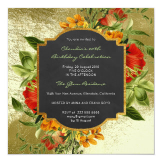 Floral Baroque Birthday Golden Frame Mint Green Card