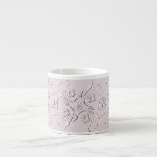 Floral baroque pink pattern. monogram. espresso cup