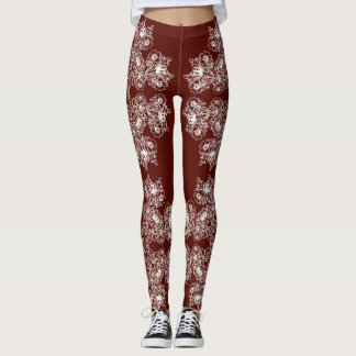 Floral baroque style maroon  pattern. leggings
