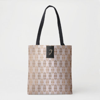 Floral baroque style pattern. Monogram. Tote Bag