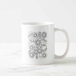 Floral Beaded Spray Line Art Design Coffee Mug