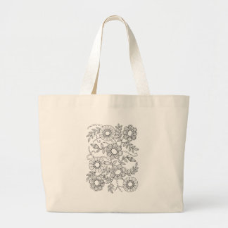 Floral Beaded Spray Line Art Design Large Tote Bag