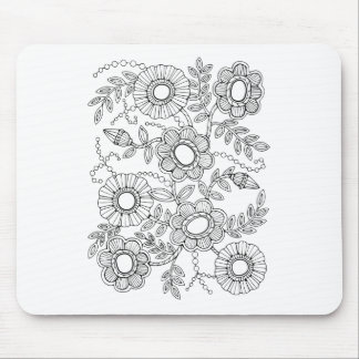 Floral Beaded Spray Line Art Design Mouse Pad