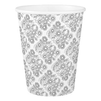 Floral Beaded Spray Line Art Design Paper Cup