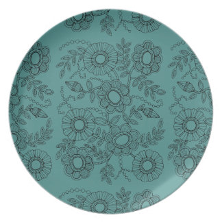 Floral Beaded Spray Line Art Design Plate