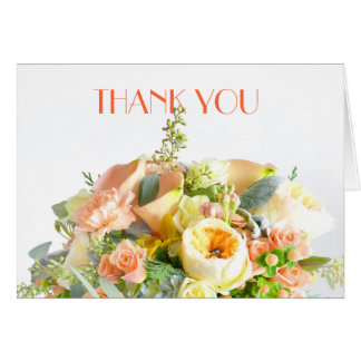 Floral Beauty Bouquet Coral Thank you Cards