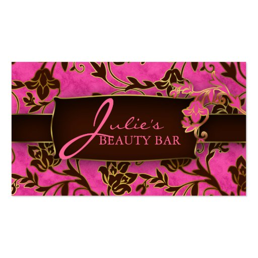 Floral Beauty Business Card Gold Trim Pink Brown H