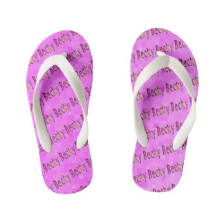 Floral Becky Name Logo, Kid's Thongs