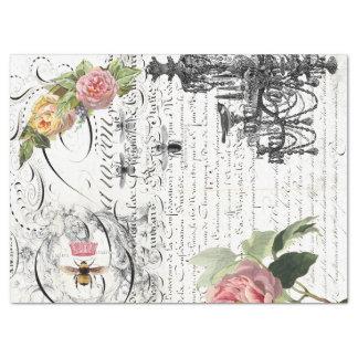 Floral Bee Script Decoupage Tissue Paper