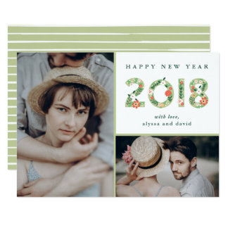 Floral Beginnings | Two Photo Happy New Year Card