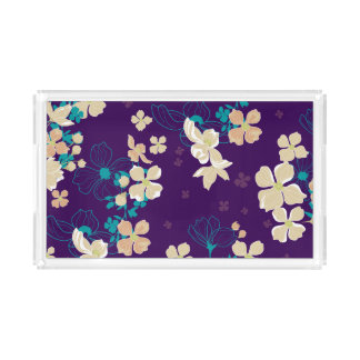 Floral – Beige and Teal Acrylic Tray
