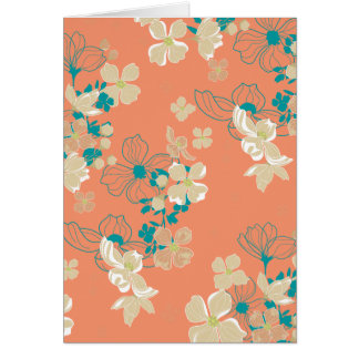 Floral – Beige and Teal Card