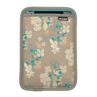 Floral Beige and Teal iPad Mini Sleeve