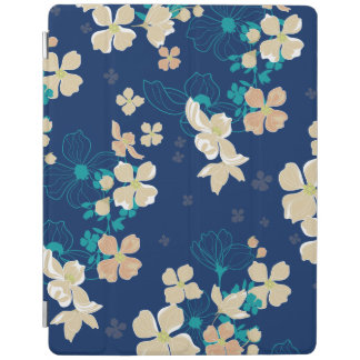 Floral Beige and Teal iPad Smart Cover