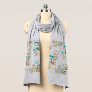 Floral Beige and Teal Scarf