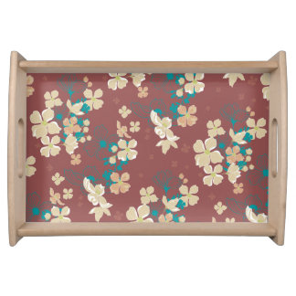 Floral – Beige and Teal Serving Tray