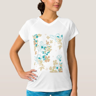 Floral Beige and Teal T-Shirt