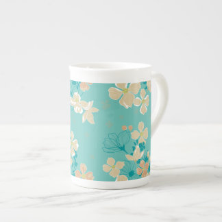 Floral – Beige and Teal Tea Cup